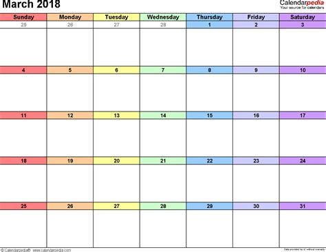 march 2018 monthly calendar printable templates
