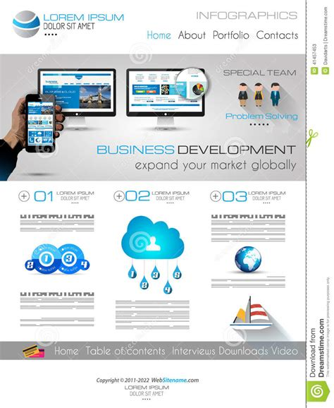 Attractive Modern Business Web Template With Flat Ui Elements Stock Vector Image 41457453 Modern Business Website Templates