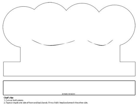 printable chef hat template printable white paper chef s hat instant digital