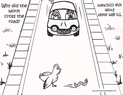 printable version of highway code chicken cross the road coloring page