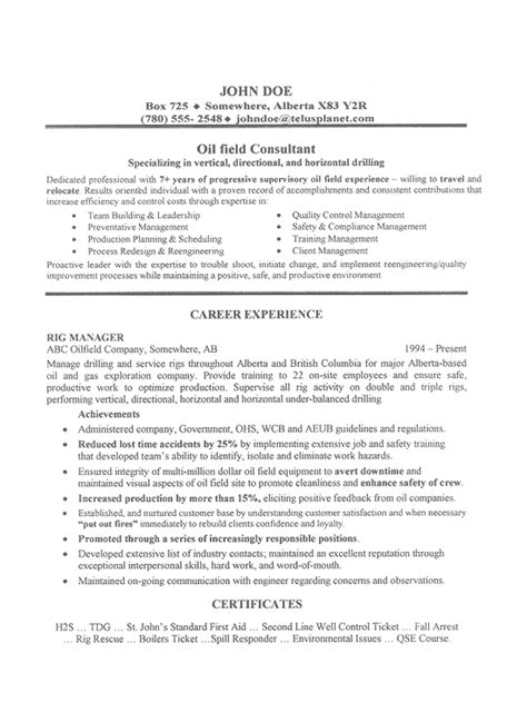 Field Service Technician Resume Examples by Oil Field Consultant Resume Example