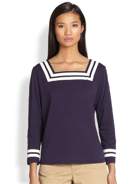 Channel Top Striped a p c sailor striped squareneck top in blue lyst