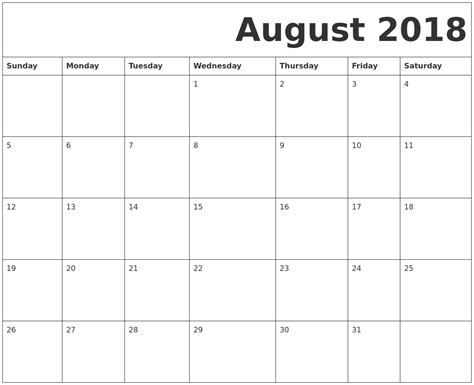 printable calendar august 2018 august 2018 free printable calendar