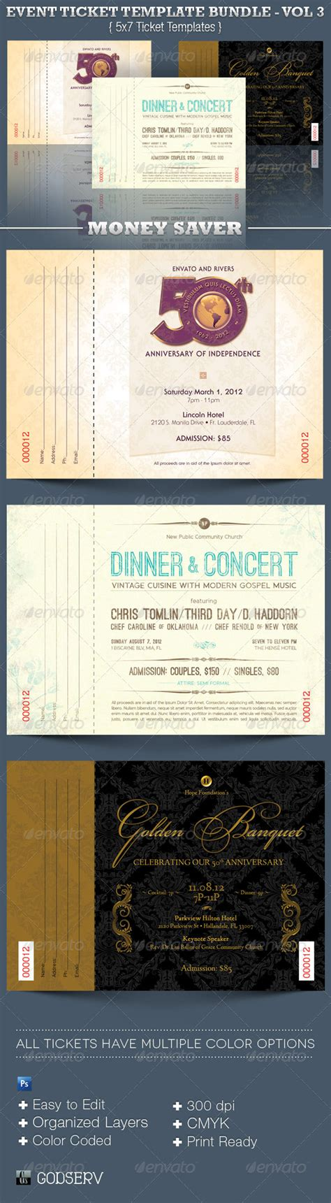 Event Ticket Template Bundle Volume 3 Graphicriver Event Ticket Template Illustrator