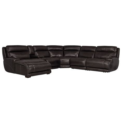 leather reclining sectional with chaise city furniture gable dark brown leather left chaise power