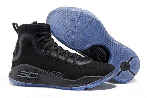 Curry 4 Black Blue 2017 armour curry 4 all black blue sole for sale