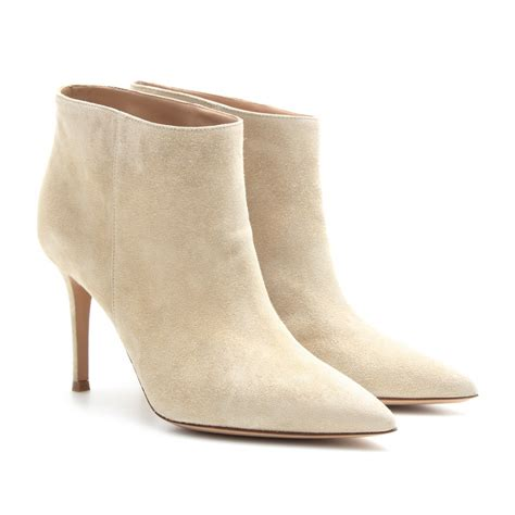 beige shoes gianvito suede ankle boots in beige lyst