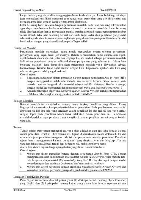 format proposal judul tugas akhir format proposal tugas akhir