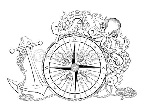 vintage nautical compass coloring pages
