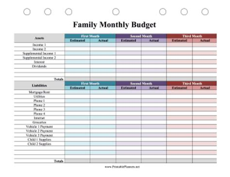 printable family budget planner family monthly budget planner colorful