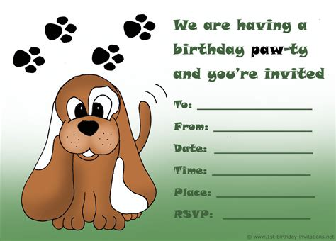 puppy birthday invitations birthday invitations free printable 1st birthday invitations