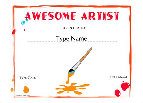 printable art awards certificate template 62 free printable word excel pdf
