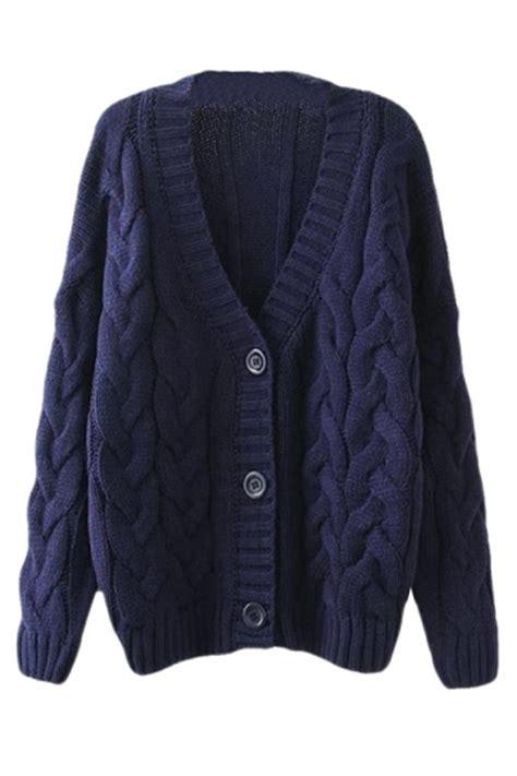 Navy Blue Warm Womens Cable Knit Vintage Plain Cardigan