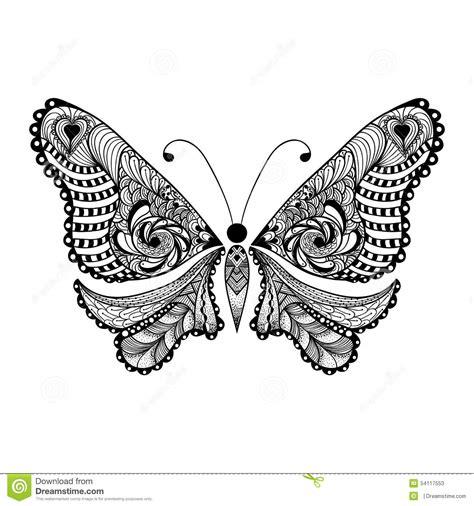 zentangle stylized black butterfly hand drawn stock