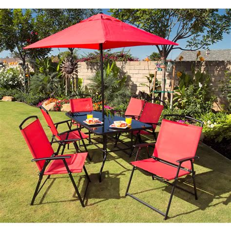 Miami 8 Piece Folding Sling Patio Dining Set Walmart Com Folding Patio Dining Set