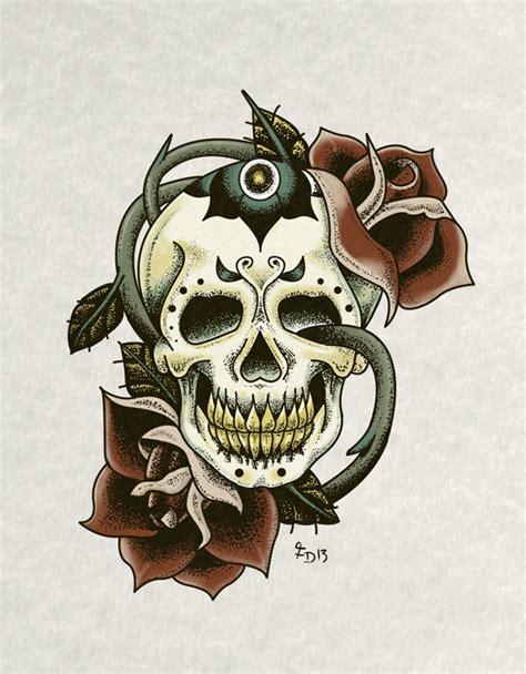 tattoo flash art skulls skull and roses tattoo flash art on pantone canvas gallery