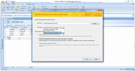 format vcard excel how to convert db to vcf using microsoft access and opal