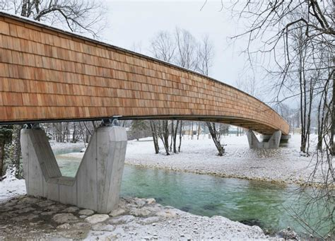 wooden bridge designs architects create beautiful arched footbridge out of