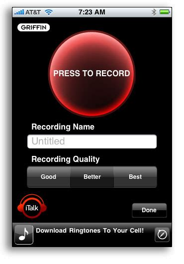 Review Griffin Italk Pro by Griffin Italk Audio Recorder For Iphone Ipod Touch 2g In