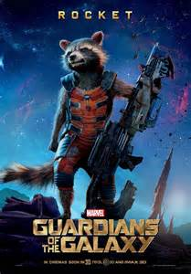 New guardians of the galaxy character posters of rocket raccoon