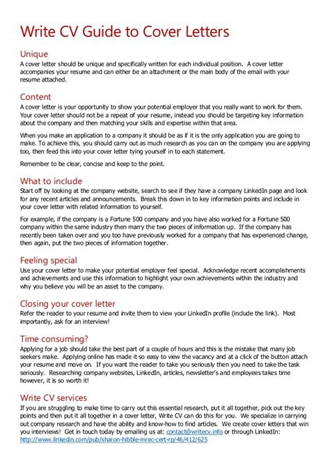 Write CV Guide To Cover Letters