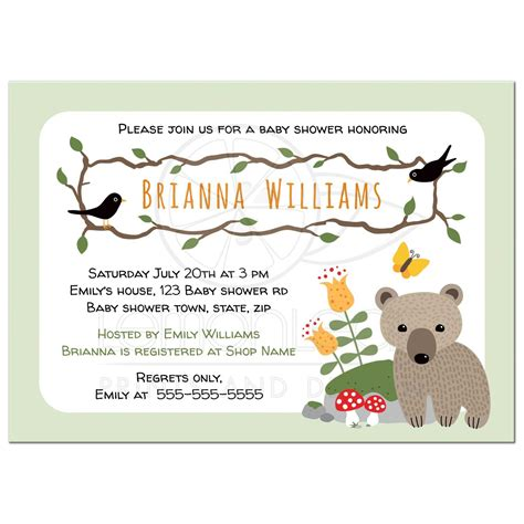 Woodland Themed Baby Shower Invitations by Woodland Baby Shower Invitation With Cub Mushrooms