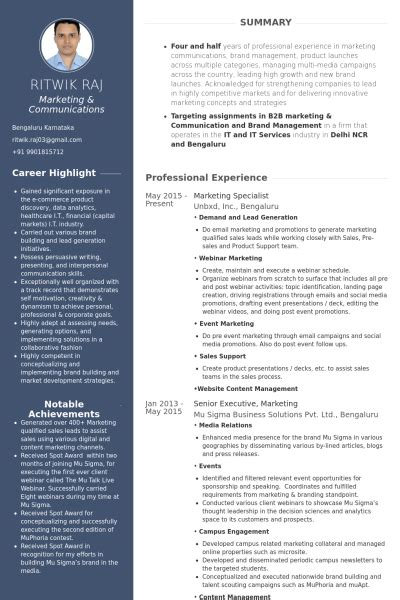 Marketing Specialist Resume by Marketing Specialist Resume Sles Visualcv Resume