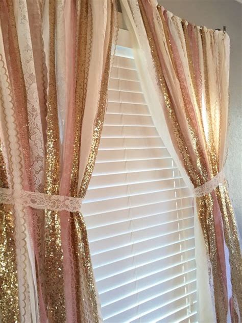 Pink And Gold Curtains Pink Gold Sparkle Sequin Garland Curtain With Lace Nursery Decor Curtain Crib Garland