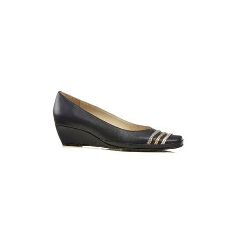 brisbane marine navy leather wedge shoe