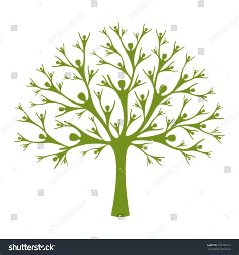 Human Tree A Vector Tree Created Of Human Silhouettes Concept Of Support Help And Teamwork Family Tree Concept Stock Vector