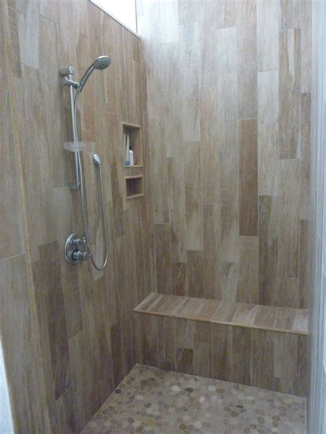 Walk In Shower Wall Options Walk In Shower Tile Options The Floor Pebbles The