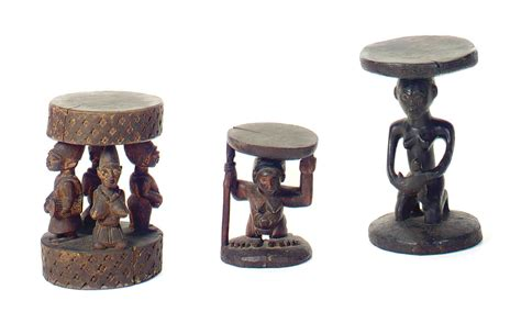 carved wood stool three carved wood stools 20th century