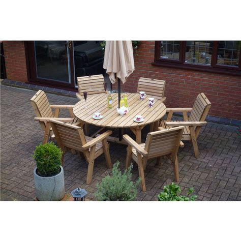 Wooden Garden Furniture Round Table & 6 High Back Chairs