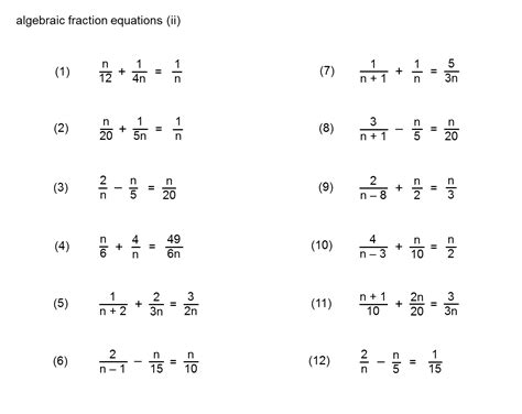 Fractional Equations Worksheet by Median Don Steward Mathematics Teaching Equations
