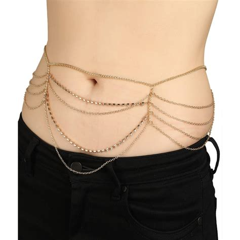 Rhinestone Multi Chain Necklace shop multi chain rhinestone studded belly chain