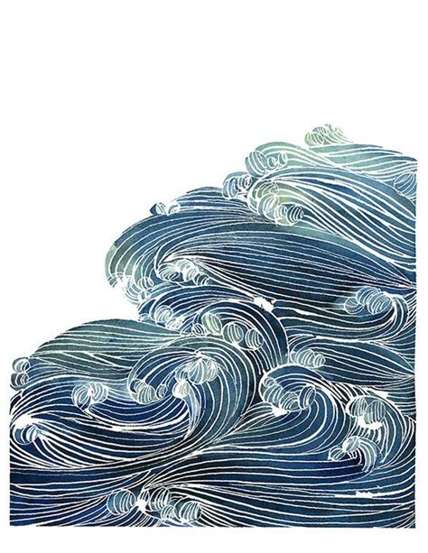mom5kids sketch 3 waves blue green watercolors and waves on