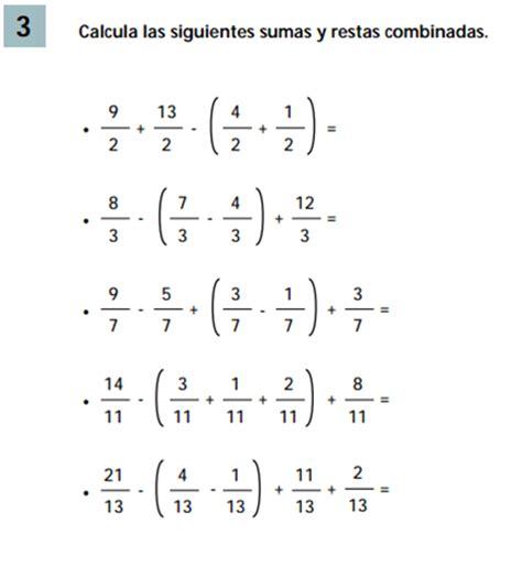 Suma Y Resta De Fraccionarios Para Nios De Tercer Grado | suma y resta de fraccionarios los n 250 meros fraccionarios