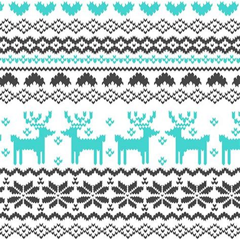 pattern jersey fabric turquoise charcoal fairisle reindeer pattern on white