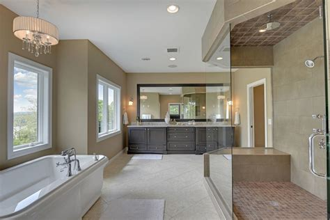 Bathroom Designs For Rectangular Rooms Bright Drum Shade Chandelier In Transitional Minneapolis