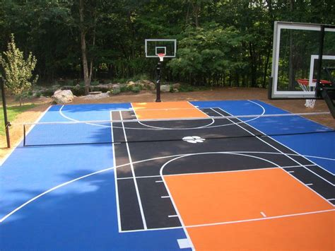 backyard basketball court tiles sport court cost with awesome basketball outdoor sport