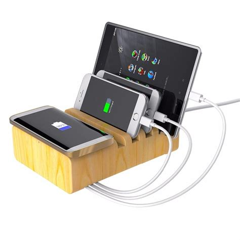 device charging station wood stand multi device charging station with qi wireless