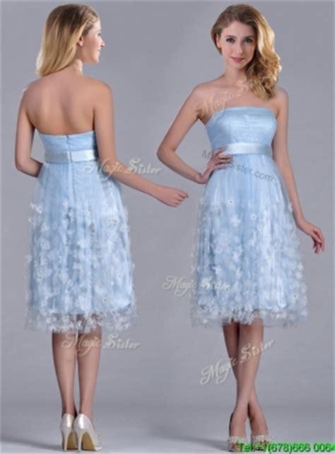 light blue tea length dress gorgeous empire tea length applique tulle dama dress in