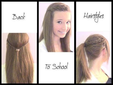 cute hairstyles easy to do for school back to school 3 cute simple hairstyles youtube