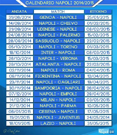 Calendario Serie A Napoli Calendario Napoli Serie A 2014 2015 Calcionapoli24
