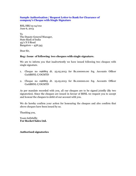 authorization letter for bank signature request letter to bank manager for signature verification