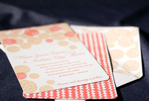 coral and gold wedding invitations letterpress wedding invitation inspiration smock wedding