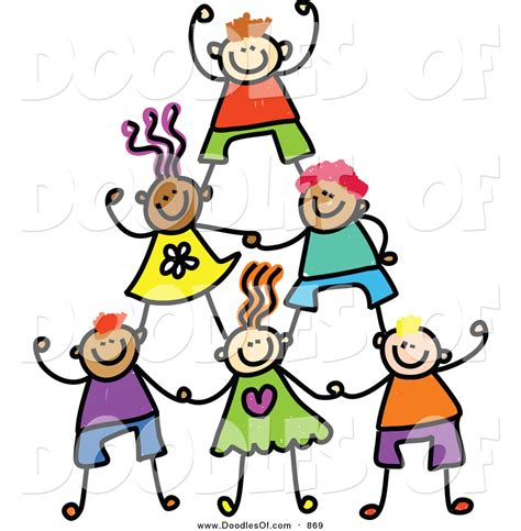 kid doodle free vector clipart of a doodle human pyramid of by prawny