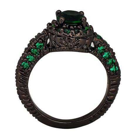 emerald black gold plated ring 69 95 shevoila