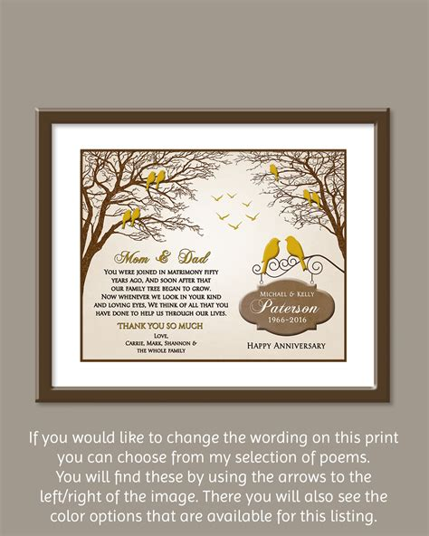 Golden Wedding Anniversary Gifts by 50th Wedding Anniversary Gift Golden Wedding Anniversary