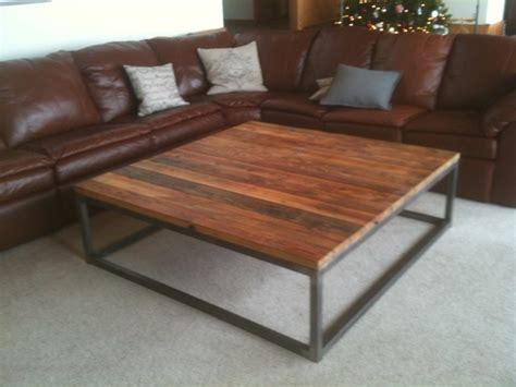reclaimed wood and steel coffee table industrial